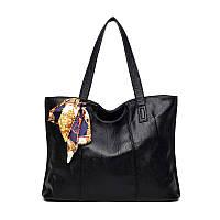 Женская сумка на молнии черная большая с длинными ручками и ленточкой, фото 1