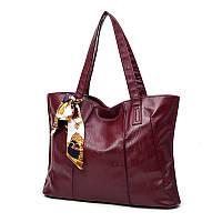 Женская сумка на молнии бордовая большая с длинными ручками и ленточкой опт, фото 1