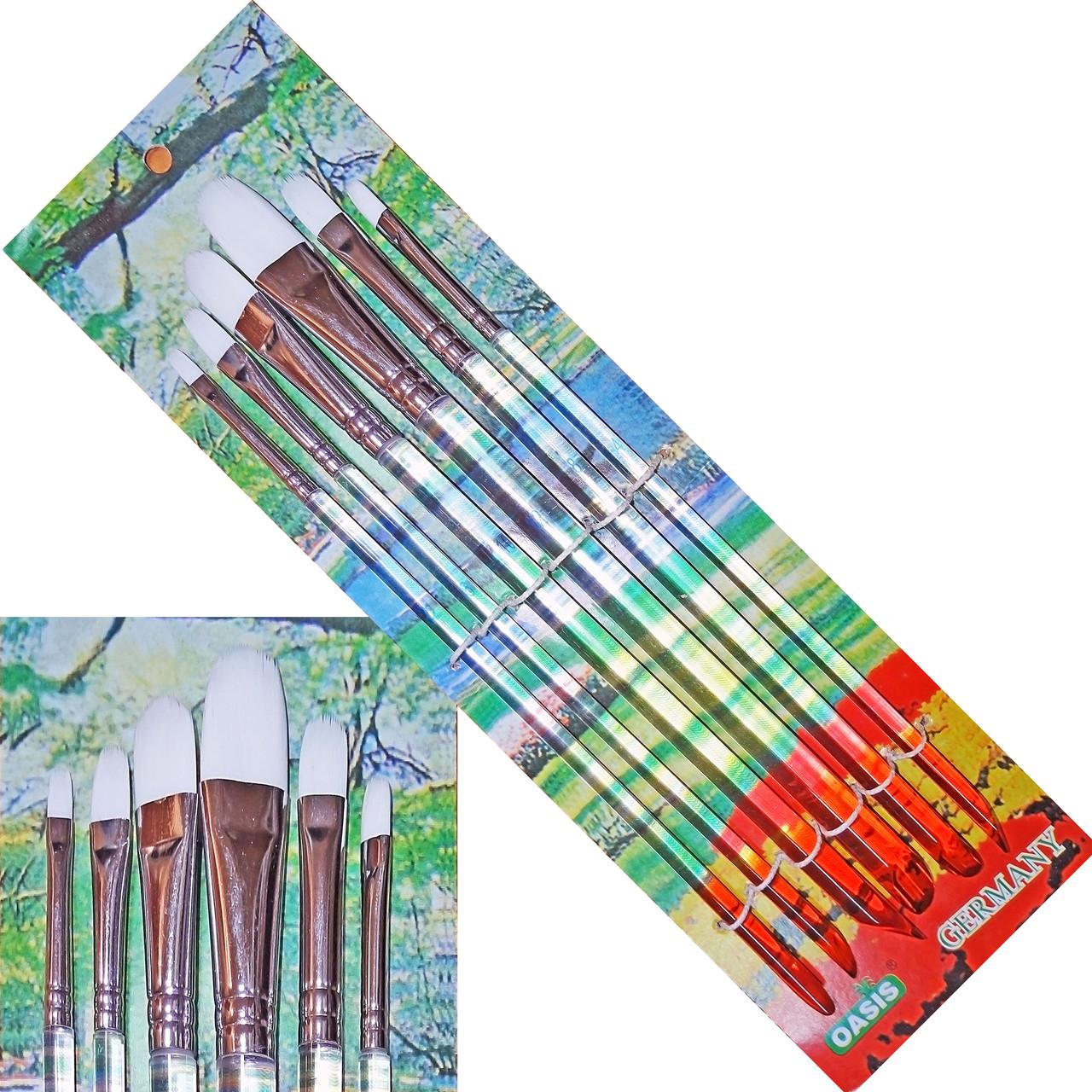 Кисті 5580WA-6шт, НЕЙЛОН (1,3,5,8,10,12), плоскі ЕЛИПС, ручки - акрил