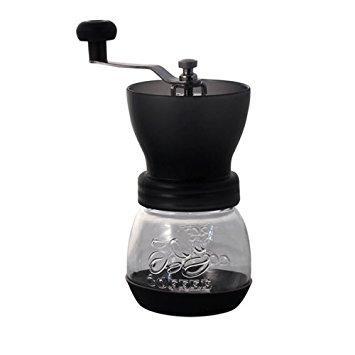 Ручная кофемолка Tiamo Grinder Fat Black с керамическими жерновами и регулировкой уровня помола