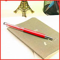Роскошный подарок шариковая ручка-стилус красная с красными кристаллами