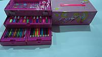 """Набор художника в коробке,3 яруса 56пр """"Девочки"""",280*140*120мм.Детский набор для рисования Девочки"""" в карт. че"""