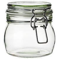 IKEA KORKEN Баночка с крышкой, прозрачное стекло  (702.135.45)