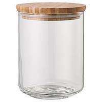IKEA EKLATANT Банка с крышкой, прозрачным стеклом, бамбуком  (103.766.01)
