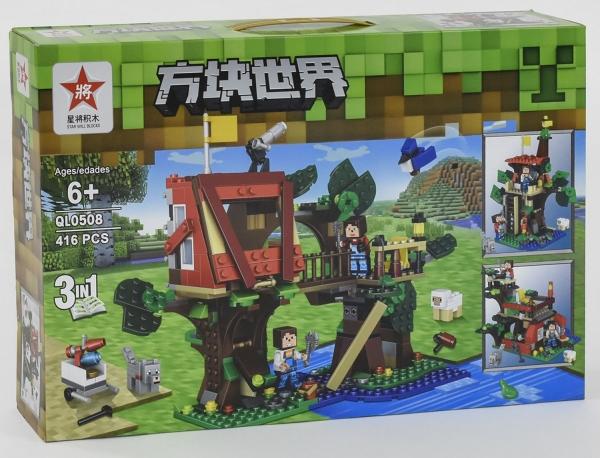 """Конструктор Minecraft QL 0508 """"Домик на дереве"""", 416 дет."""