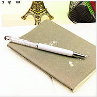 Роскошный подарок шариковая ручка-стилус белая с прозрачными кристаллами, фото 1