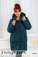 Зимняя куртка на холлофайбере для полных темно-зеленая