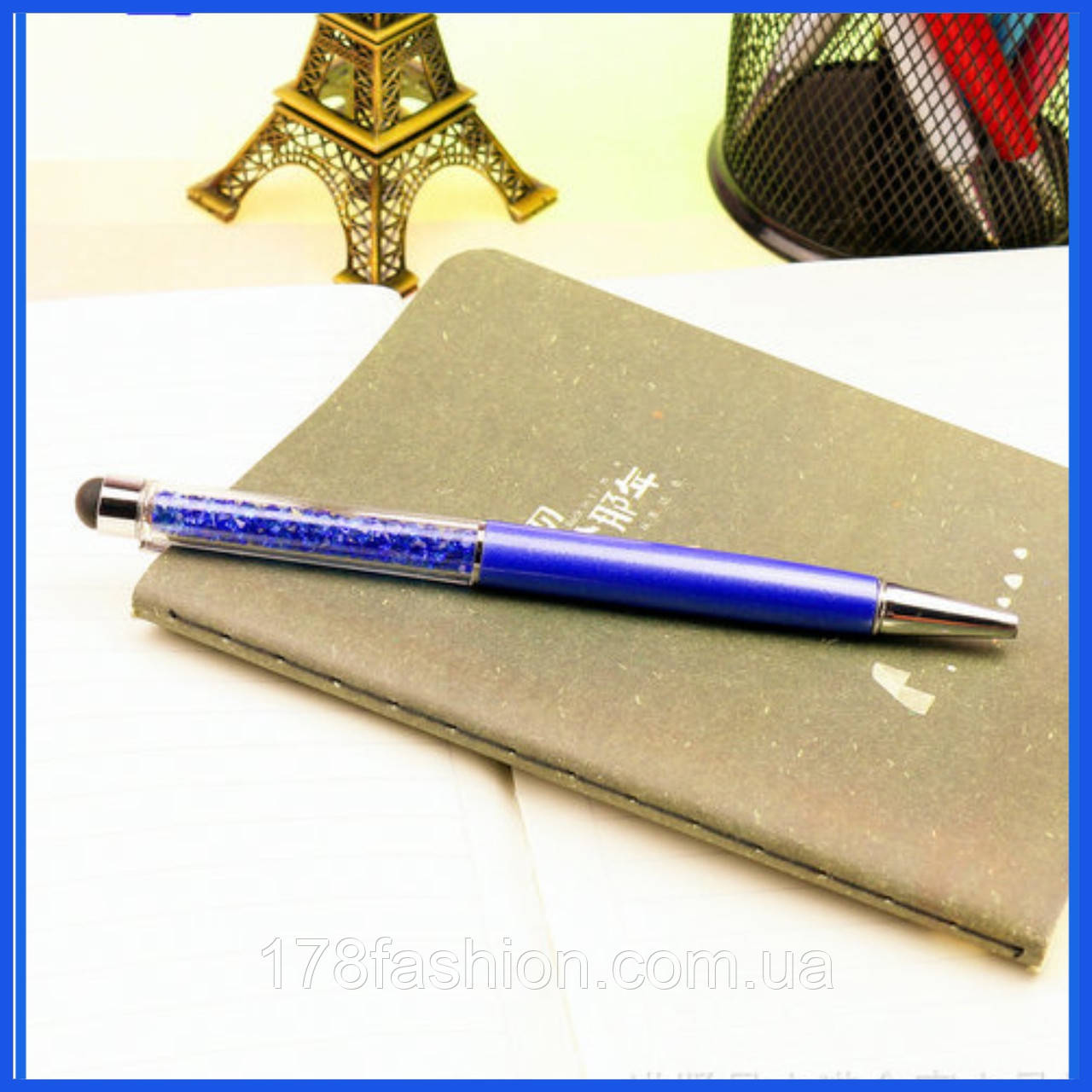 Роскошный подарок шариковая ручка-стилус синяя с синими кристаллами
