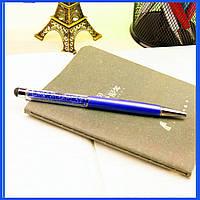 Роскошный подарок шариковая ручка-стилус синяя с синими кристаллами, фото 1