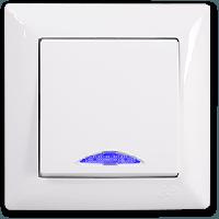 Выключатель одноклавишный с подсветкой белый Gunsan серия Visage