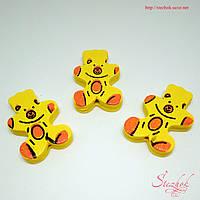 Деревянные бусины 21х28мм медведь для рукоделия цвет желтый