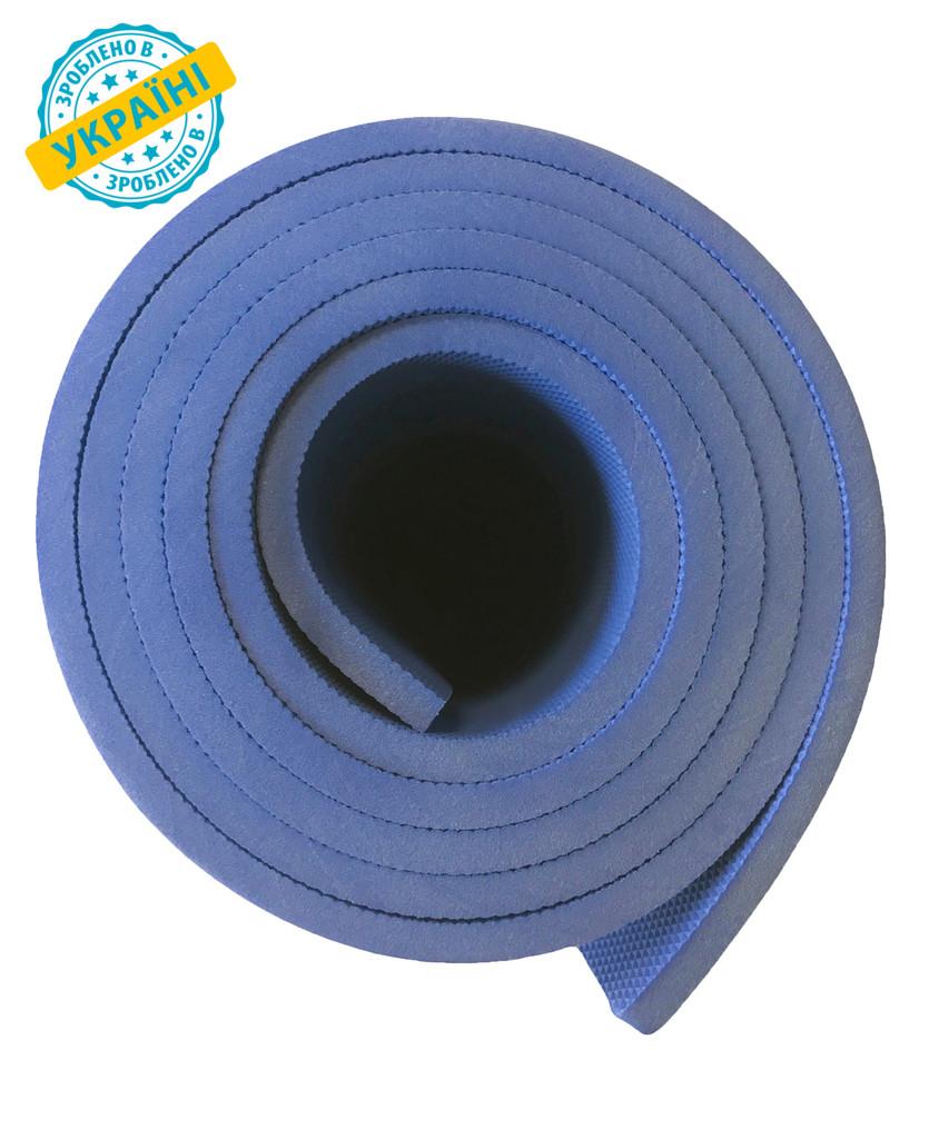 Коврик (каремат) 180*60*0.8 см для туризма и спорта Eva-Line двухсторонний синий С
