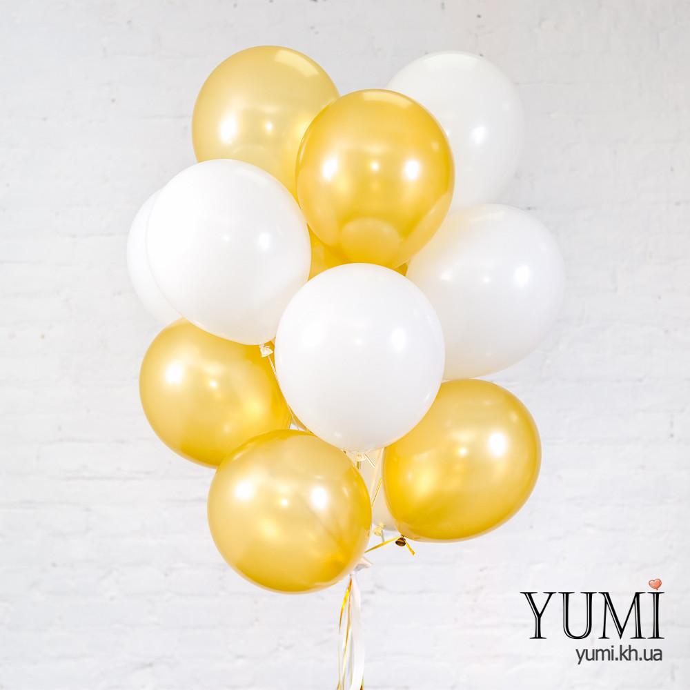 Связка из 15 белых и золотых шаров