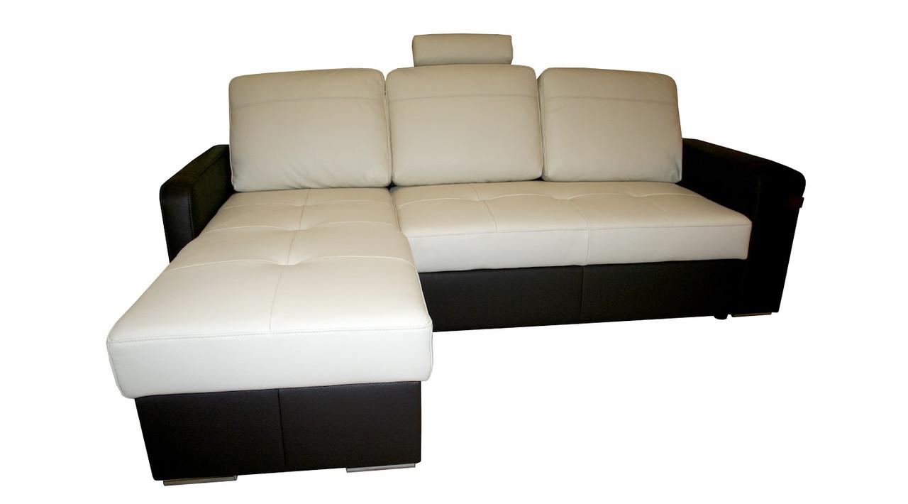 Кожаный диван Филадельфия с оттоманкой, не раскладной, мягкий диван, мебель из кожи