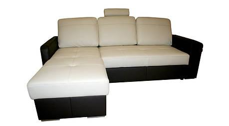 Кожаный диван Филадельфия с оттоманкой, не раскладной, мягкий диван, мебель из кожи, фото 2