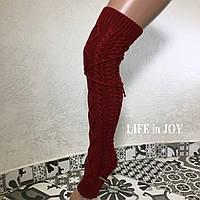 Бордовые женские гетры без носка выше колена
