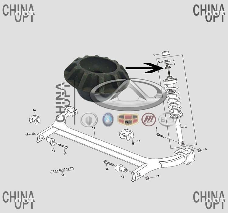 Опора заднего амортизатора верхняя, малая, Chery Amulet [1.6,до 2010г.], A11-2911017, Febi Bilstein - CHINA-OPT в Харькове