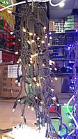 Светодиодная гирлянда бахрома 10 метров, удлиняемая, черный шнур,  желтый цвет свечения, Харьков
