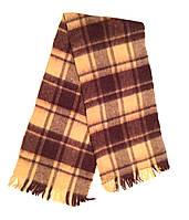 Шарф мужской коричневый с бежевым Шотландская клетка