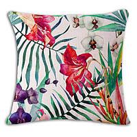 Тропический цветок декоративная наволочка на подушку 45*45 см