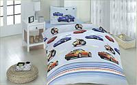 """Полуторный комплект постельного белья с детским рисунком """"Скорость"""" 150х220 из бязи"""