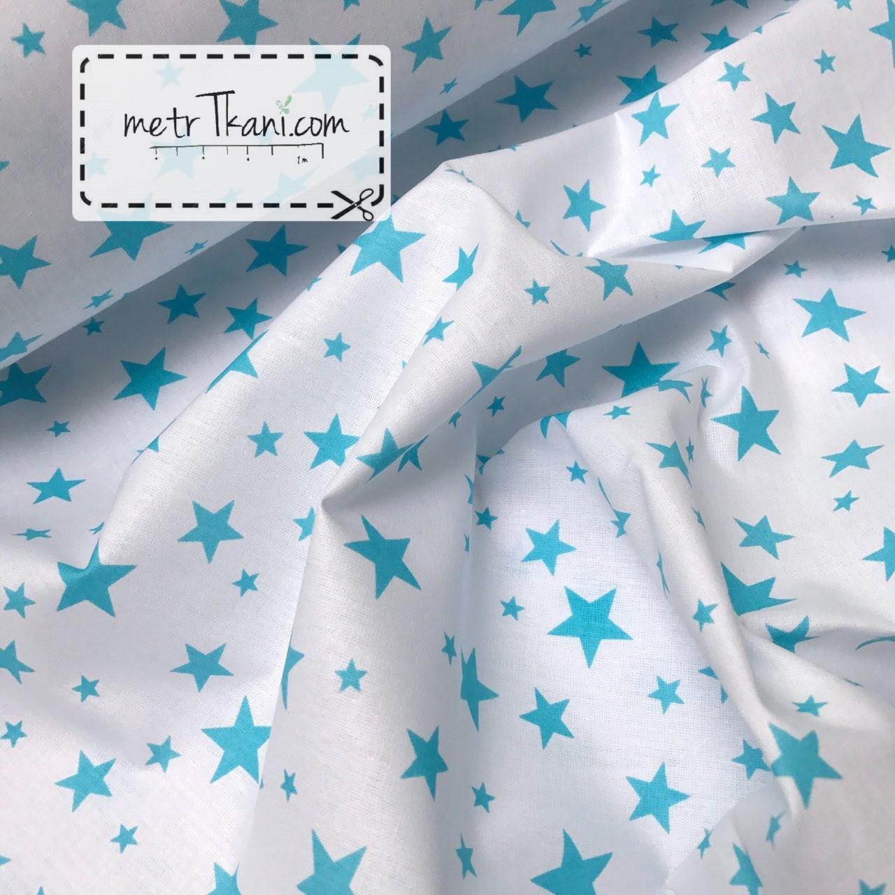 Ткань хлопковая звездопад  бирюзовые звезды на белом фоне № 871
