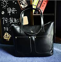 Женская большая + маленькая сумка набор черная из экокожи на молнии опт, фото 1