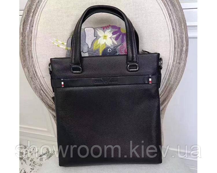 Мужская кожаная сумка в стиле Giorgio Armani black 3774-2