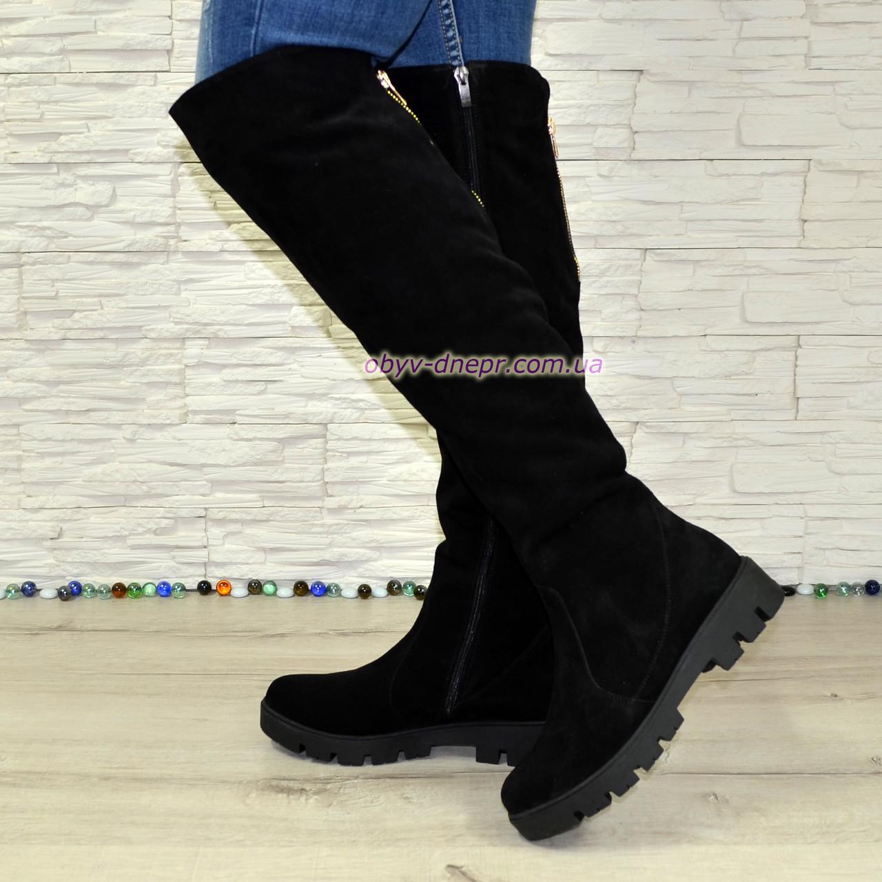 c5f2696227b6 Ботфорты женские замшевые черные зимние на тракторной подошве - Bigl.ua