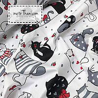 Бязь с котами на веревочках в  сердечках и лапках на белом фоне 135 г/м2 №519
