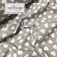 Хлопковая ткань, бязь  белые сердца на сером фоне №397