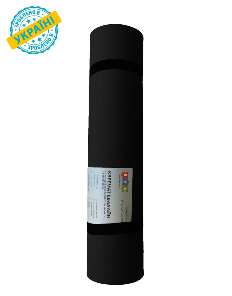 Коврик (каремат) 200*60*0.4 см для туризма и спорта Eva-Line двухсторонний черный