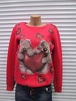 Модный женский молодежный  утепленный  Турецкий батник красного цвета с мишками
