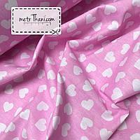 Хлопковая ткань, бязь  белые сердца на розовом №396