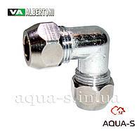 Уголок цанговый латунный Albertoni M10 х M10 для подключения медной трубки