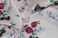 Ткань костюмка сатин нежно розовий персик