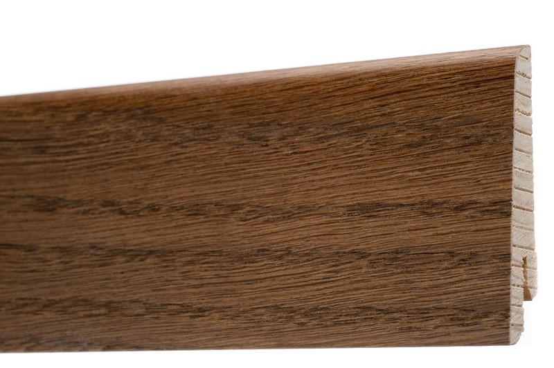 Плинтус напольный из дерева шпонированный 60х18х2400мм., Дуб браун