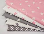 Лоскут ткани ранфорс с белыми звёздами 3 см на розовом фоне, №1110, размер 68*90 см, фото 3