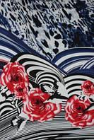 Ткань Шифон леопардовый принт купон синий, фото 1