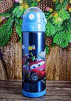 Детский вакуумный термос с трубочкой поилкой и ремешком Disney Дисней 500 мл