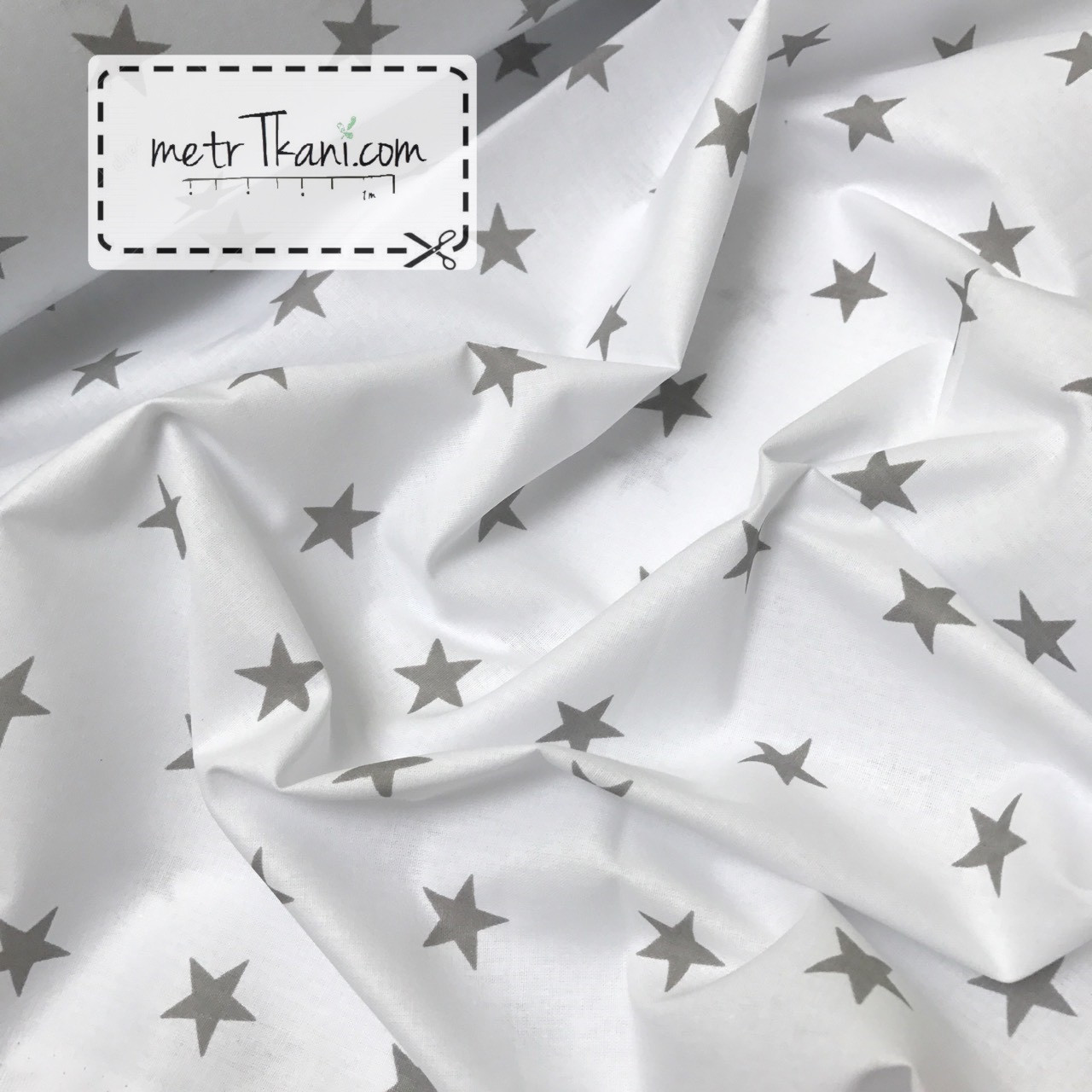 Польська бязь з сірими зірками 2,5 см на білому №726