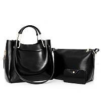 Женская сумка 3в1 среднего размера черная из экокожи опт, фото 1