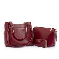 Жіноча сумка 3в1 середнього розміру кольору бордо з екошкіри опт, фото 1