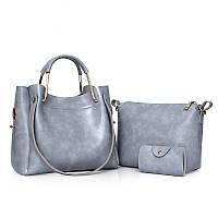 Женская сумка 3в1 среднего размера серая из экокожи, фото 1