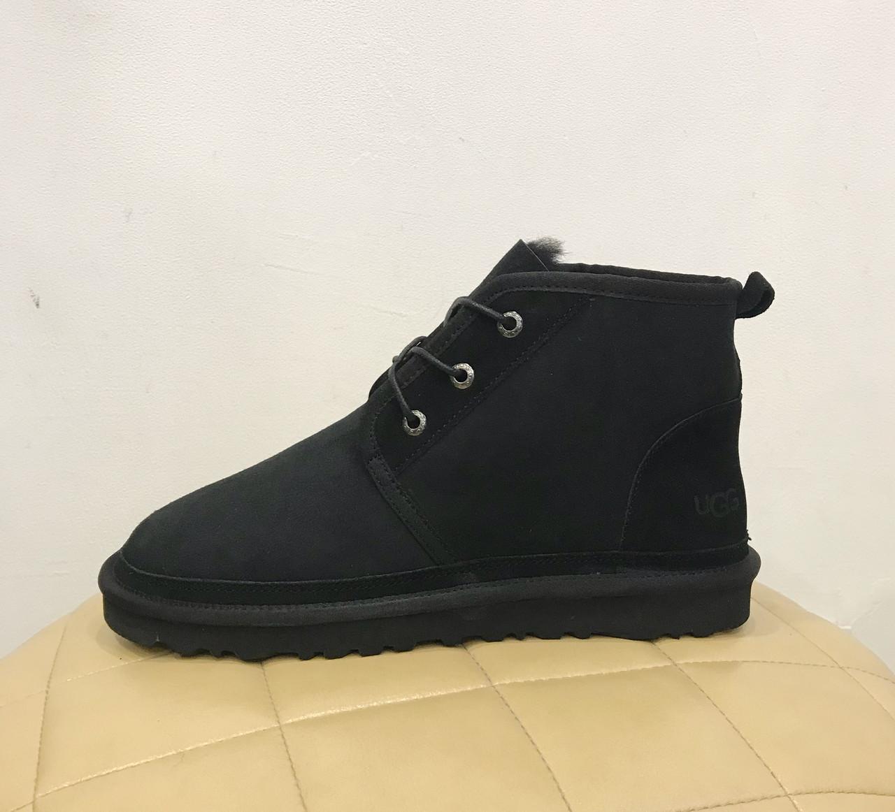 UGG Men's Neumel - Classik Black Угги мужские на шнурках черные замшевые