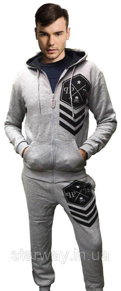 Спортивный утепленный костюм Philipp Plein с капюшоном топ