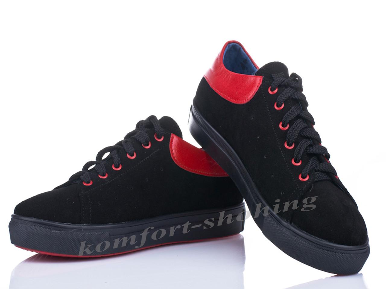 Женские замшевые кроссовки на шнуровке , черные  V 1084