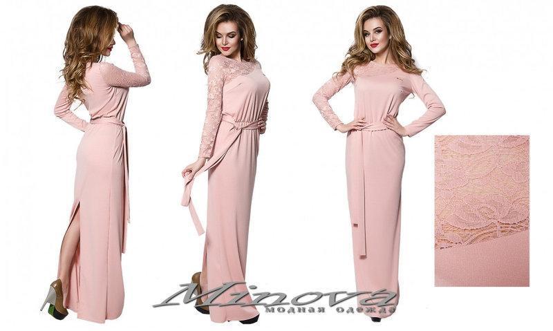 Красивое длинное платье в пол в расцветках с разрезом, р-ры 42