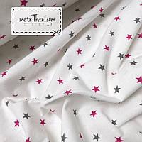 Фланель детская  малиновые и графитовые звезды 1,5см на белом  №874