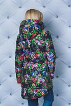 Куртка зимняя цветочный принт. Размеры от 42 до 58, фото 2